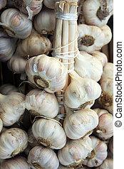 Bundles of garlic