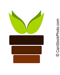 Plant in pot - Pot with plant emblem - vector illustration