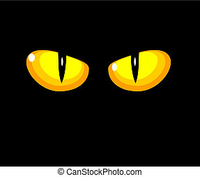 Cat yellow eyes - Black wild cat with yellow eyes - vector...