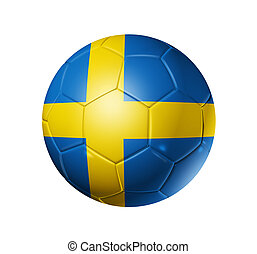 Soccer football ball with Sweden flag - 3D soccer ball with...