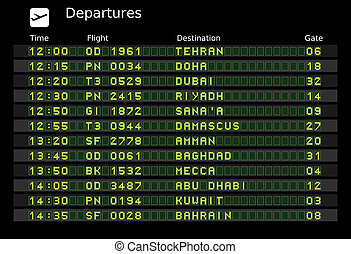 Middle East - Departure board - destination airports. Vector...