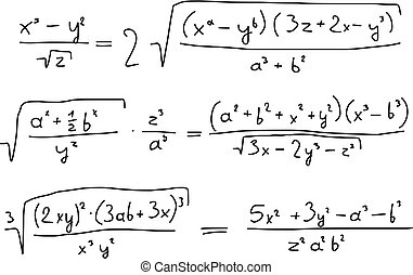Algebra - Hand written scribble illustration - mathematical...