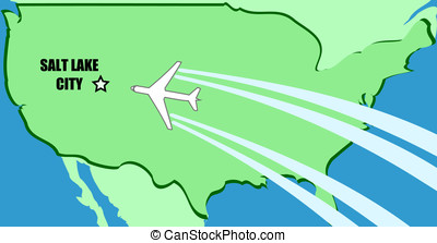 Salt Lake City - Simplified vector map of USA with airplane...
