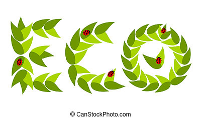Eco leaves with ladybugs