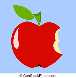 Biten apple - Red biten apple over blue