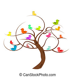 Tree with birds - Bald tree with colorful birds Vector...