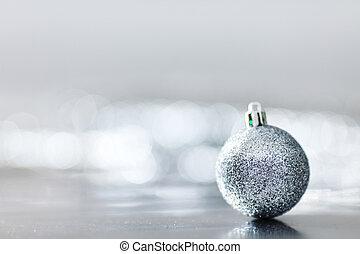 silver christmas ball macro close up