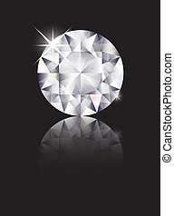 Diamond reflected - A brilliant cut diamond isolated on...