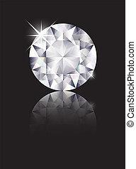 Diamond reflected - A brilliant cut diamond isolated on...