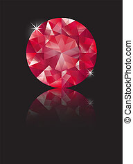 Ruby reflecte - A brilliant cut ruby isolated on black with...