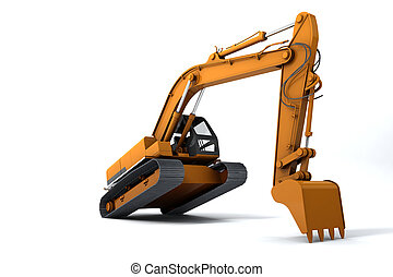 Excavator is in the interesting position. Scoop rests on the...