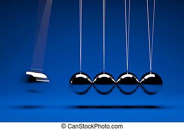 swing balls - 3d render of five swing balls