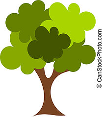 Oak tree - Big green oak tree vector illustration