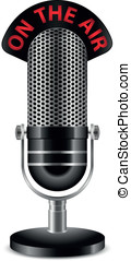 """On The Air"" Microphone. Vector illustration"