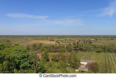 agricultural landscape, views of farms and farmland