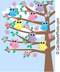 colourful owls in a tree