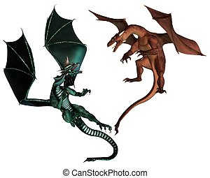 Red and Green Dragons Fighting - Red and Green dragon...