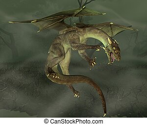 Green Swamp Dragon - Green dragon hunting in a swamp, 3d...