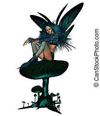 Turquoise Fairy Sitting on a Toadst