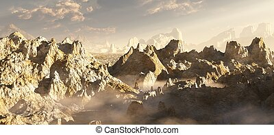 Alien Desert Canyon in the Clouds - Rocky desert canyon...