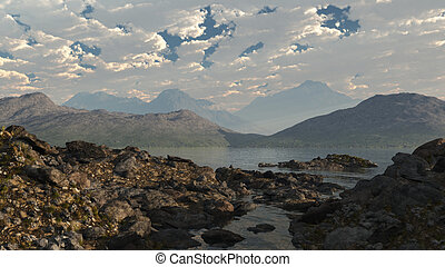 Scottish Loch Shore - Rocky shore of a Scottish loch, 3d...