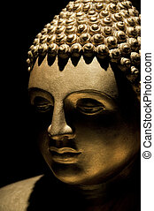 Buddha statue - Golden Buddha statue, portrait photography