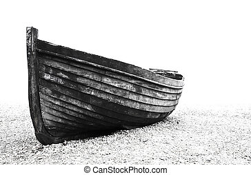 Old fisherman boat on Brighton beach, Black and white
