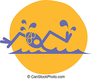 Swimmer - Boy, student or athlete swimmer swimming a race in...