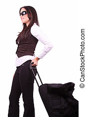 American business woman traveling with suitcase