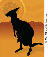 Kangaroo Outback - A silhouette of a kangaroo with her joey...