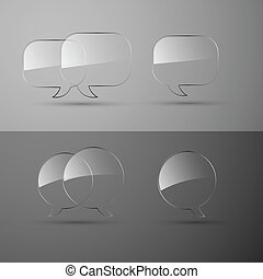 Set of realistic glass speech bubbles Vector illustration