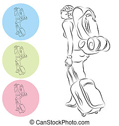Luggage Backpack Travel Girl Line Drawing - An image of a...