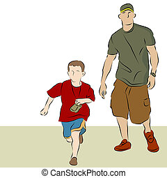 Father Son Walking - An image of a father and son walking...