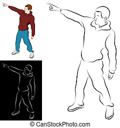 Pointing Man Line Drawing