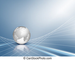 Blue business background with globe - Design with silver...