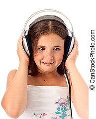 Girl listen a music - Teen girl listen unusual music