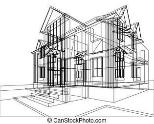 House construction sketch - Abstract sketch of house....