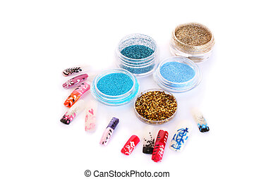 Nail art glitters and colorful nail figures isolated on...