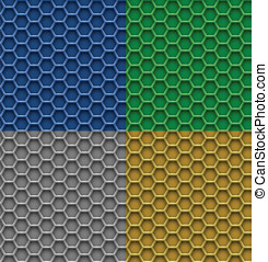 Honeycomb patterns - 4 seamless honeycomb patterns. Hexagon...