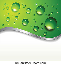 abstract background with water drops on green, vector