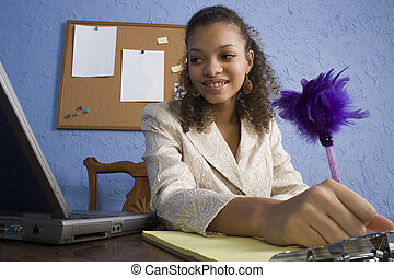 Attractive African American Teen Girl at Desk - Attractive...
