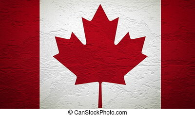 CANADA flag on wall explosion with fireball   alpha