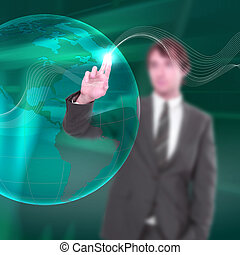 young man touches a virtual surface.