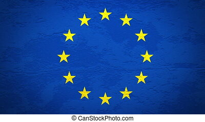 EU flag on wall explosion alpha - EU flag on wall explosion...