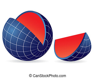 Earth globe slice