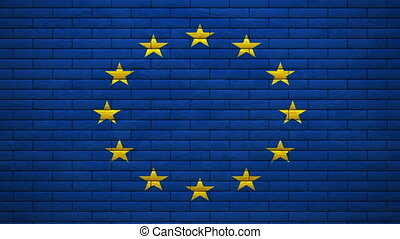 EU flag on wall explosion   alpha