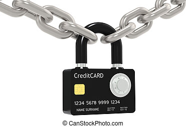 Secure online payment. - Credit Card made like a Padlock,...