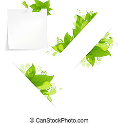 Natural Background With Leaves And Drops Set, Isolated On...