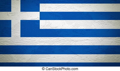 GREECE flag on wall explosion with fireball alpha