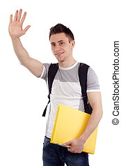 Greet someone - Isolated young student with back pack and...